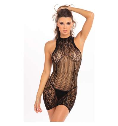RECKLESS LACE MINI VESTIDO NEGRO