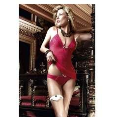 BACI CONJUNTO CAMISON Y BIKINI DE MALLA Y ENCAJE ROJO sexshop online